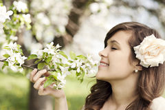 Woman in orchard Royalty Free Stock Photo