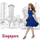 Woman on Orchard Road in Singapore. Hand-drawn sketch woman on Orchard Road in Singapore Stock Photo