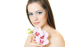 Woman with orchid. Beautiful woman with orchid on white background Royalty Free Stock Photos