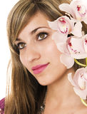 Woman with orchid Stock Photography