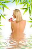 Woman with orchid flower stock photos