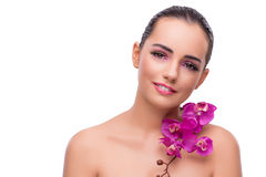 The woman with orchid flower isolated on white Royalty Free Stock Image