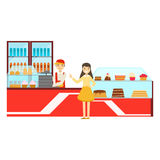 Woman Ordering At The Counter, Smiling Person Having A Dessert In Sweet Pastry Cafe Vector Illustration. Happy Primitive Cartoon Character At Bakery Shop At Royalty Free Stock Image