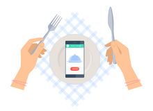 Woman is ordering meal in restaurant by phone. Food delivery. Royalty Free Stock Photography