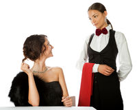 Woman ordering waitress Royalty Free Stock Images