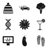 Woman organism icons set, simple style. Woman organism icons set. Simple set of 9 woman organism vector icons for web isolated on white background Royalty Free Stock Images
