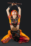 Woman oriental dance with shield - arabia costume Royalty Free Stock Photography