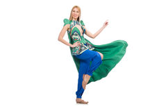 Woman in oriental green clothing isolated on white Royalty Free Stock Photo