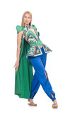 Woman in oriental green clothing on white Stock Image