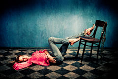 Woman in oriental shirt and shoes Stock Photos