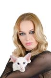 Woman with oriental shorthair cat Stock Photo