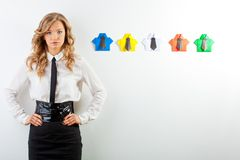 Woman and origami shirts Stock Photos
