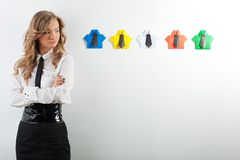 Woman and origami shirts Stock Photo