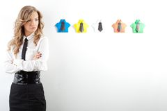 Woman and origami shirts Stock Images