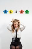 Woman and origami shirts Royalty Free Stock Images