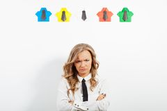 Woman and origami shirts Stock Photography