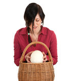 Woman with ostriches egg Royalty Free Stock Photo