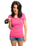 Woman out of coffee. Attractive young hispanic woman who ran out of coffee on a white background Stock Images