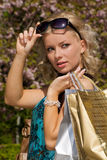Woman out shopping Royalty Free Stock Photography