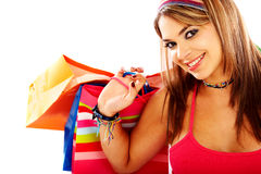 Woman out shopping Stock Images