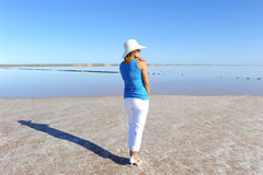 Woman outback lake Australia Royalty Free Stock Photography