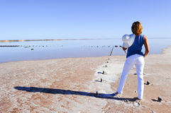 Woman outback lake Australia Stock Image