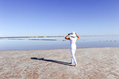 Woman outback lake Australia Royalty Free Stock Image