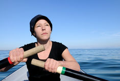 Woman outdoor activity  lake. Woman enjoying outdoor activity Stock Photo
