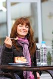 Woman outdoor with cake Stock Images