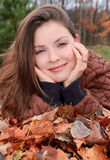 Woman outdoor during fall Stock Image