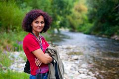 Woman outdoor near river Stock Photo