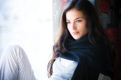 Woman outdoor portrait. Beautiful young brunette outdoor portrait Stock Photo