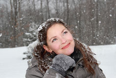 Woman outdoor during snowstorm Royalty Free Stock Photography
