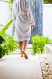 Woman at outdoor spa treatment room Stock Photos