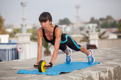 Woman outdoor training, workout. Concept sport healthy l Stock Photography