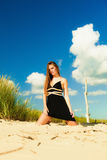 Woman outdoor vacation day. Summer holiday leisure concept. Gorgeous girl vacation day. Outdoor Royalty Free Stock Image