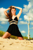 Woman outdoor vacation day. Summer holiday leisure concept. Gorgeous girl vacation day. Outdoor Stock Photography