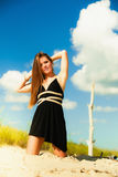Woman outdoor vacation day. Summer holiday leisure concept. Gorgeous girl vacation day. Outdoor Stock Photo