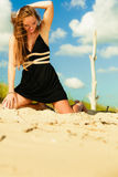 Woman outdoor vacation day. Summer holiday leisure concept. Gorgeous happy girl vacation day. Outdoor Stock Image