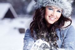 Woman outdoor in winter Royalty Free Stock Photos