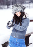 Woman outdoor in winter Royalty Free Stock Photo