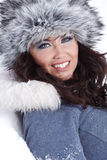 Woman outdoor in winter Stock Images