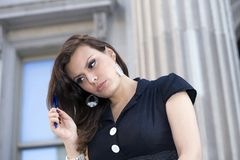 Woman outdoors. Latin woman in her early twenties.  She is from Bolivia and was photographed July, 2009 in the USA Stock Image