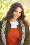 Woman Outdoors In Autumn Landscape Royalty Free Stock Photography