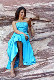Woman Outdoors in a Formal Dress Royalty Free Stock Photo
