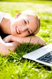 Woman outdoors with laptop Royalty Free Stock Photos