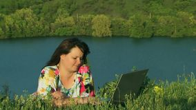Woman Outdoors With Laptop stock video footage