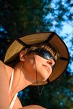 Woman outdoors with nice hat Stock Photo