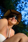 Woman outdoors with nice hat Royalty Free Stock Image