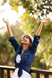 Woman outdoors outstretched Stock Photos